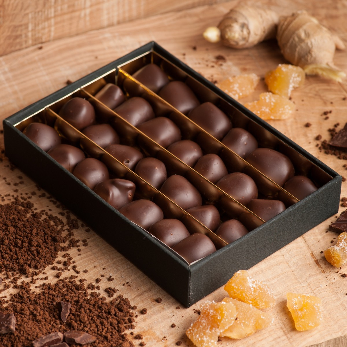 Ginger in Dark Chocolate in Clear Lid Presentation Box