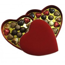 Velvet Heart Box with Chocolate Hearts & Truffles