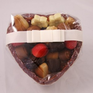 Dumon Belgian Chocolates in a Heart Shaped Basket